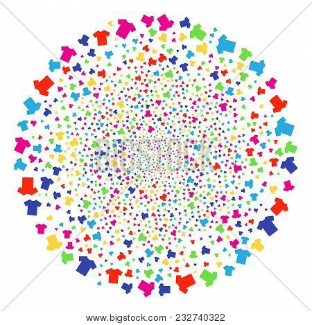 Multicolored T-shirt Bang Round Cluster. Vector Sphere Bang Designed With Scatter T-shirt Items. Mul