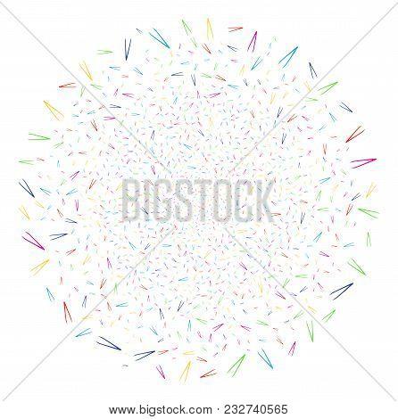 Multi Colored Tweezers Carnival Spheric Cluster. Vector Cluster Burst Done From Randomized Tweezers