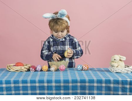 Little Boy, Bunny Ears And Prepare Eggs For Easter On Pink Background. Development Master Class For