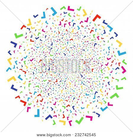 Colorful Yes Decoration Globula. Vector Sphere Explosion Created By Randomized Yes Symbols. Colorful