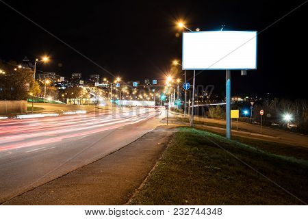 Blank Billboard In Night City. Night Lighs