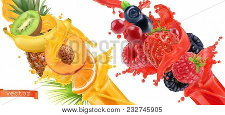 Fruit Burst. Splash Of Juice. Sweet Tropical Fruits And Mixed Forest Berries. 3d Realistic Vector Ic