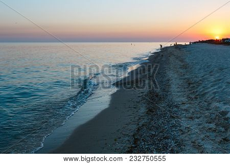 Sunset Sun Above Self-dependent Camping In Sandy Prairie On Azov Sea Sandy Shore (lazurne, Kherson R