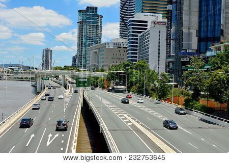 Brisbane, Queensland, Australia - January 6, 2018. View Over Pacific Motorway On River Waterfront In