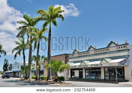 Mackay, Queensland, Australia - December 28, 2017. Street View In Mackay, Qld, With Historic Art Dec
