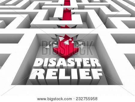 Disaster Relief Maze Arrow Recovery Help Assistance 3d Illustration