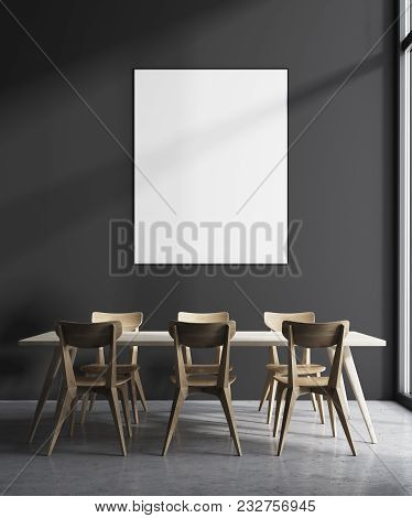 Modern Minimalistic Dining Room Interior With Gray Walls, A Wooden Floor And A Long Table With Chair