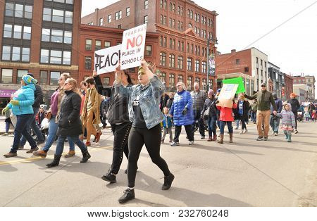 Portland, Me - March 24, 2018: National School Walkout Student Protester Holding Sign, On March 24,
