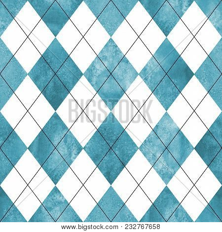 Argyle Seamless Plaid Pattern. Watercolor Hand Drawn Teal Blue White Texture Background. Watercolour