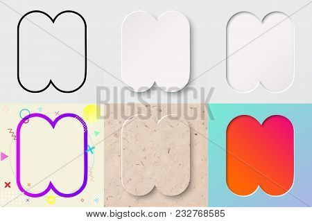 Vector Illustration Set Of Cute Bold Rounded Letter N With Outline, 3d Paper Cut, Embossing, Neo Mem