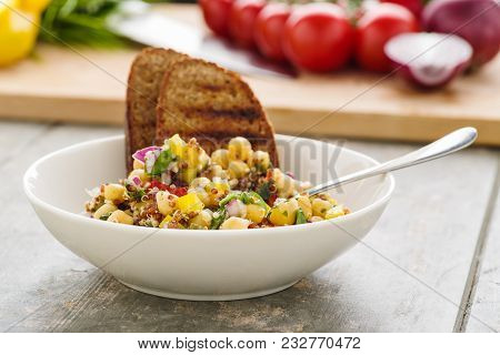 Vegan Quinoa Salad With Chickpeas And Veggies