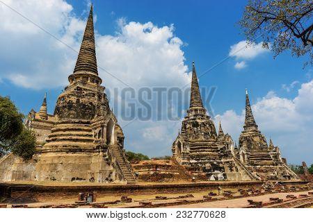 Three Old Pagoda At Wat Phra Si Sanphet In Ayutthaya Historical Park At Ayutthaya Province Near Bang