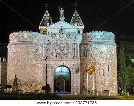 Toledo Hinge Door At Night In Spain