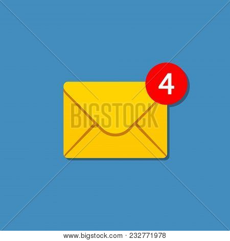 New Incoming Messages Icon With Notification. Envelope With Incoming Message. Vector Symbol.