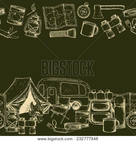 Seamless Borders Of Travel Equipment. Accessories For Camping And Camps. Sketch Illustration Of Camp