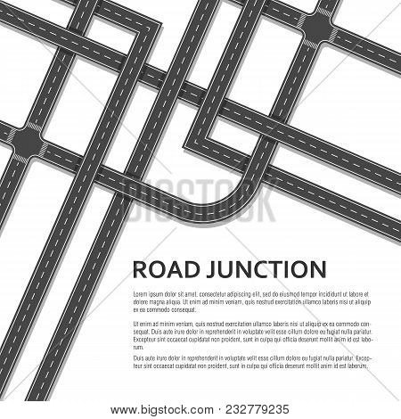 Complex Road Junction With Place For Text On White Background. Top View. Vector Illustration.