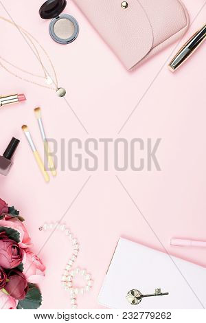Flat Lay Home Office Desk. Female Workspace With Note Pad, Fashion Accessories And Make Up Products