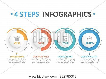 Infographic Template With Four Round Progress Indicators, Four Steps Infographics, Workflow, Process
