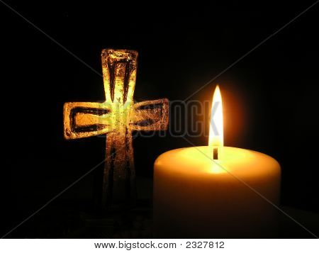 Candle Light And Cross