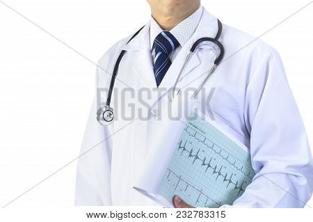 Partially Cropped Asian Male Doctor With Cardiograph Isolated On White Background With Clipping Path