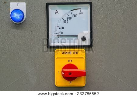 Ammeter  Display On Control Panel With Electrical Equipment Devices