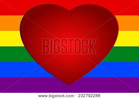 Red Heart On Colorful Rainbow Striped Background, The Symbolic Colors Of Lgbt Or Glbt Pride Flag, Is