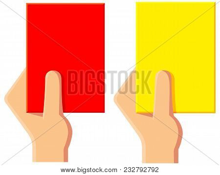 Cartoon Yellow Red Soccer Referee Card Icon Set. Sport Vector Illustration For Gift Card, Flayer, Ce