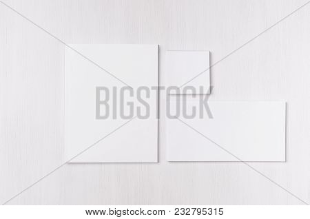 White Blank Envelope, Letterhead, Stickers On Soft White Wood Board. Mock Up For Branding, Business