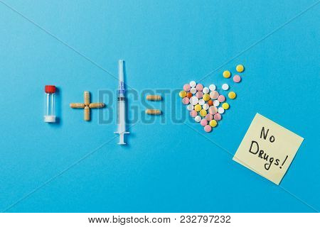 Pills Bottle Plus Syringe Needle Equals Medication Colorful Round Tablets In Form Of Heart Isolated