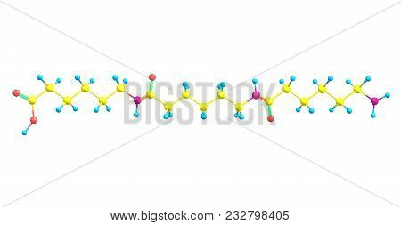 Nylon Molecular Structure Isolated On White Background
