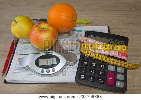 Fruit Diet. The Concept Of Dieting, Losing Excess Weight. Food And Drink, Still Life, Diet And Nutri