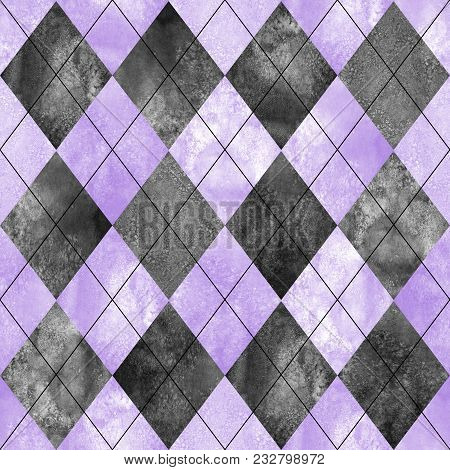 Argyle Seamless Plaid Pattern. Watercolor Hand Drawn Black Gray Purple Texture Background. Watercolo
