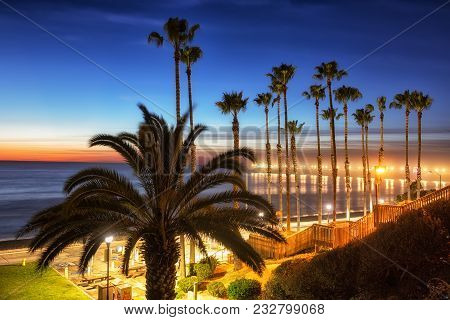 California Oceanside Pier Over The Ocean With Palm Trees And Beach, Travel Destination