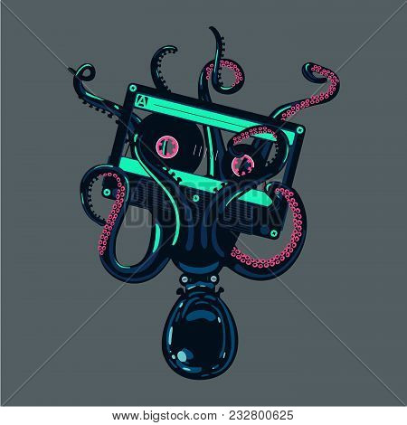 Music Poster With Octopus Is Holding A Stereo Cassette In Tentacles. Old School Hip-hop And Rap.