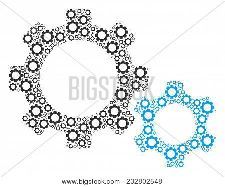 Gears Collage Of Gear Components. Vector Mechanical Wheel Objects Are Combined Into Gears Compositio