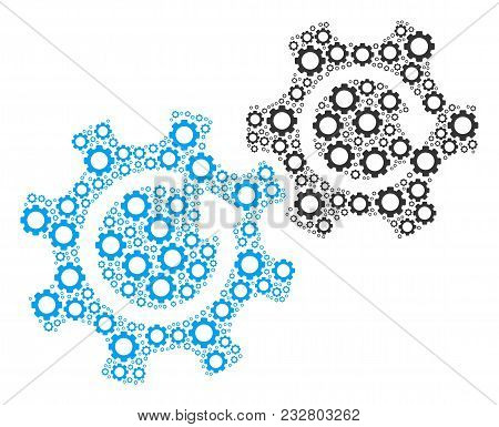 Gears Rotation Composition Of Cogwheels. Vector Cog Objects Are Grouped Into Gears Rotation Figure.