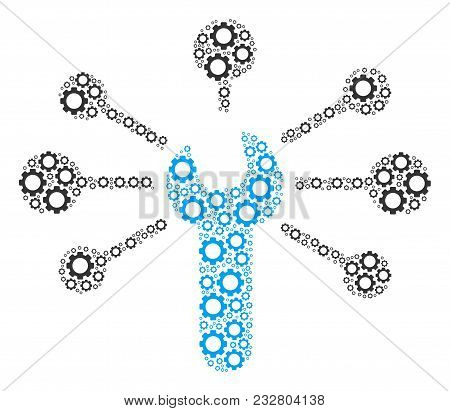 Service Wrench Relations Composition Of Mechanical Wheels. Vector Cog Wheel Components Are Grouped I