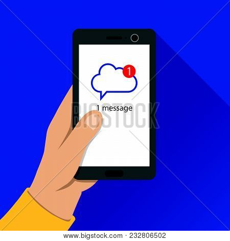 Message Notification. Mail Message Received On Smartphone. Cloud Chatting Application.