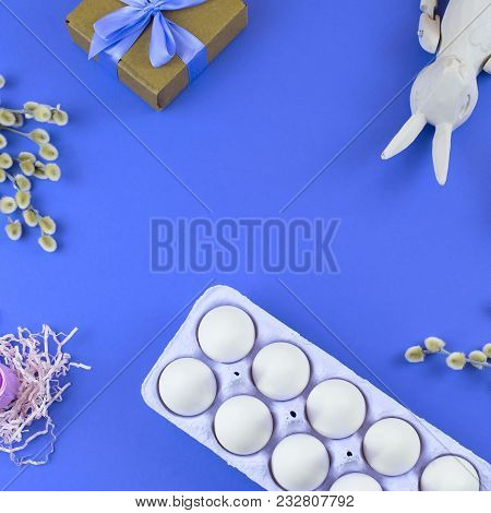 Easter Set Gift Box With Branches Catkins White Egg. The View From The Top Place For Text. Backgroun