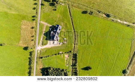 Big Traditional House, Cars And Road Summer Landscape From Above - Drone Top View