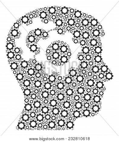 Intellect Gears Mosaic Of Gear Elements. Vector Gearwheel Components Are Grouped Into Intellect Gear