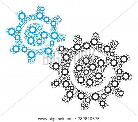 Cogs Rotation Composition Of Gear Components. Vector Cog Wheel Objects Are Organized Into Cogs Rotat