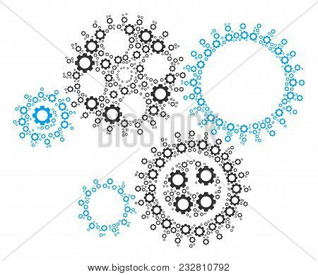 Gear Mechanism Collage Of Gearwheels. Vector Gear Elements Are Composed Into Gear Mechanism Composit