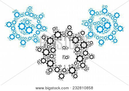 Bitcoin Wheels Rotation Collage Of Gear Wheels. Vector Gear Items Are Combined Into Bitcoin Wheels R