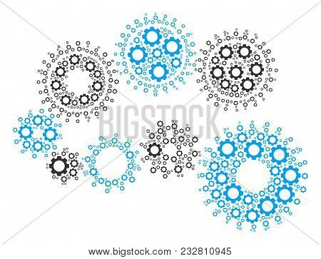 Gear Mechanism Composition Of Mechanical Wheels. Vector Cog Wheel Components Are Combined Into Gear