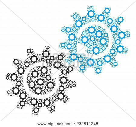 Gear Mechanism Rotation Mosaic Of Cogs. Vector Mechanical Wheel Elements Are Composed Into Gear Mech