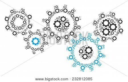 Gear Mechanism Mosaic Of Gears. Vector Mechanical Wheel Parts Are Combined Into Gear Mechanism Figur