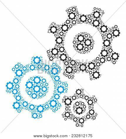 Gear Mechanism Composition Of Vector Gears. Vector Gear Parts Are United Into Gear Mechanism Figure.