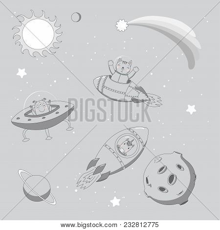 Hand Drawn Monochrome Vector Illustration Of A Cute Funny Alien In A Flying Saucer And Unicorn And C