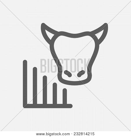 Bull Market Icon Line Symbol. Isolated Vector Illustration Of  Icon Sign Concept For Your Web Site M